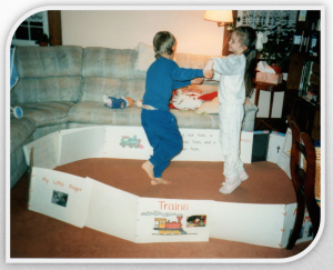 "I found my children dancing in a ""Personal Book Fortress"" made of some of Jonathan's Personal Books. (1991). Priceless."